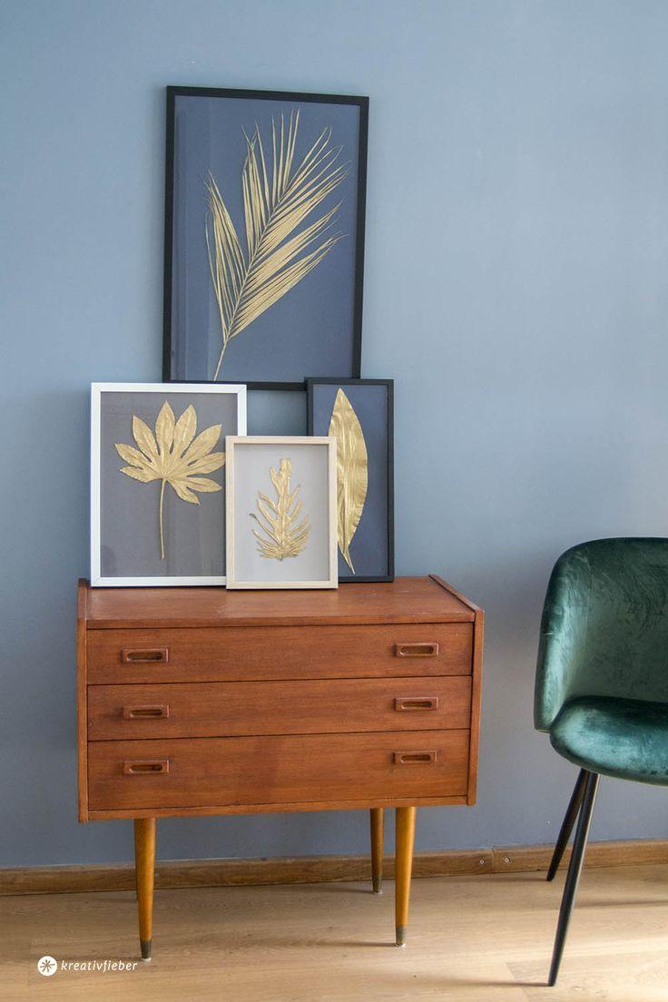 DIY goldene Blätter einrahmen