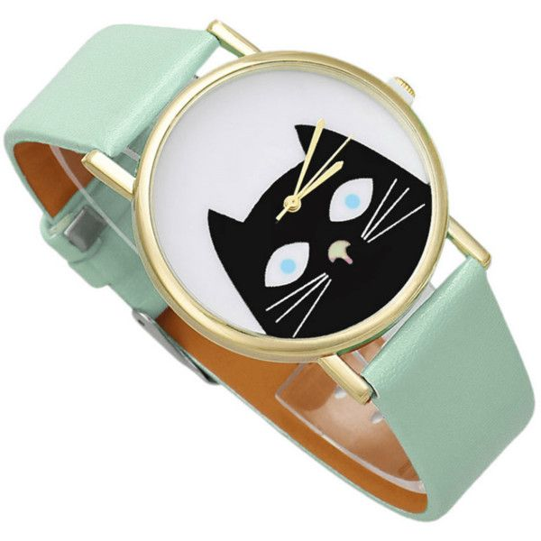 Fashion Cat Watch ($53) ❤ liked on Polyvore featuring jewelry, watches, cat watches, cat wrist watch, leather band watches, cat jewelry and stainless steel wrist watch