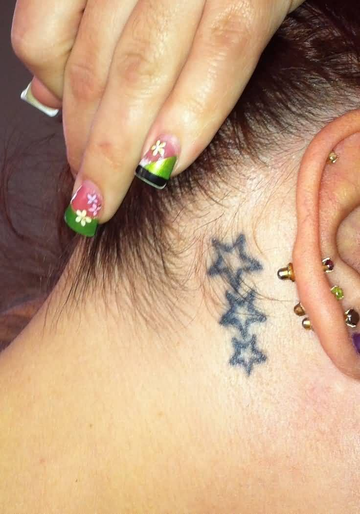 Girl Showing Three Small Stars Tattoo Behind The Ear Star Tattoos Tattoos Star Tattoos Behind Ear