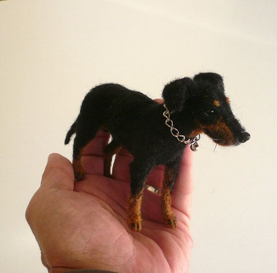 Needle felted Manchester Terrier/Needle Felted by ElinasArtShop, $68.00