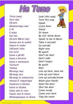Te Reo phrases for the classroom