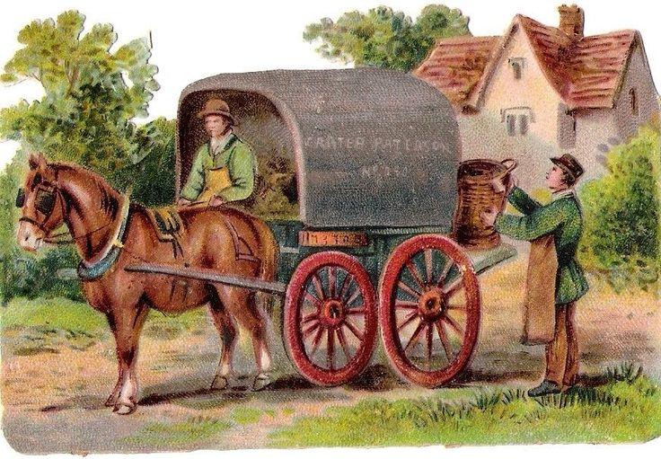 Oblaten Glanzbild scrap die cut chromo Pferd Kutsche 11,3 cm  Arbeit Farmer Land
