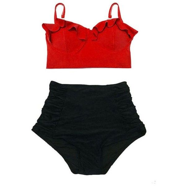 Red Midkini Top and Black Ruched High waist waisted Retro Vintage... ❤ liked on Polyvore featuring swimwear, bikinis, high waisted bikini, high waisted swimsuit, vintage bathing suits, vintage swimsuits and swimsuits bikinis
