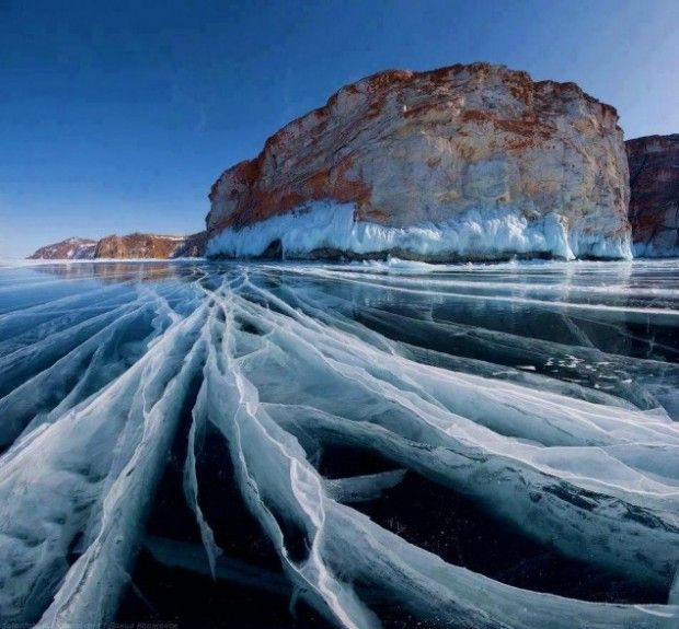 Frozen Lake Baikal, Siberia, Russia - 10 Incredible Places Made by The Beautiful Element, Water!