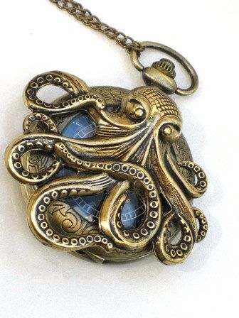 Steampunk - OCTOPUS Pocket Watch - Mechanical - Antique Brass - Necklace - Nautical - Neo Victorian - By GlazedBlackCherry-. $54.99, via Etsy.