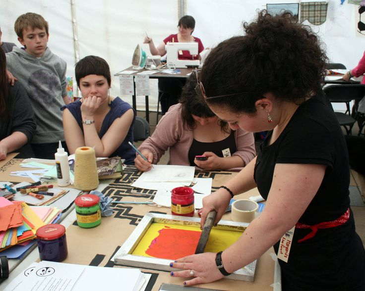 The Forest Cafe lead a printmaking workshop at the Voluntary Arts Week launch in 2012