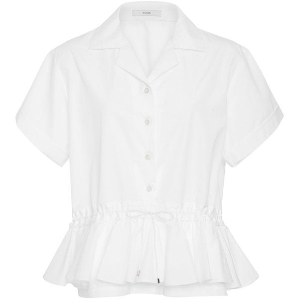 Tome Drawstring Ruffle Shirt (6.592.415 IDR) ❤ liked on Polyvore featuring tops, white, white peplum shirt, white peplum top, white ruffle shirt, frilly shirt and frill top