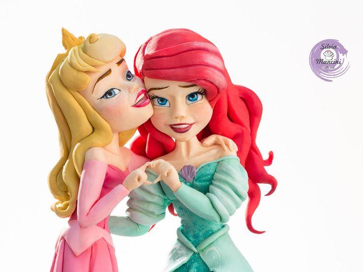 Ariel & Aurora  , decoration in sugar paste