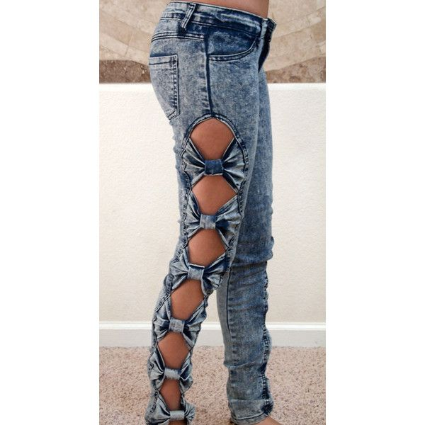 Bow Jeans ($50) ❤ liked on Polyvore featuring jeans, pants, bottoms, calças, bow jeans, jegging jeans, low rise jeans, acid wash skinny jeans and stretch jeggings