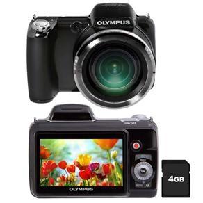 """Câmera Olympus SP-810 Preta c/ LCD 3.0"""", 14MP, Zoom Óptico 36x, Dupla Estabilização, Vídeo HD, Foto Panorama e 3D, Bateria de Lítio-íon   Cartão 4GB"""
