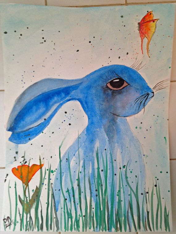 Original Watercolor Rabbit with Ears Down and a by misspixie93