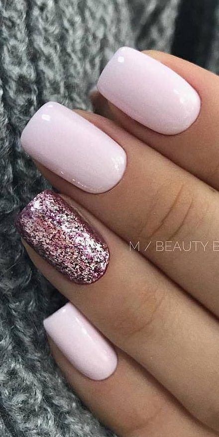 57+ Really Cute Glitter Nail Designs! You Will Love – #cute #Designs #Glitter #l…