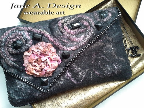 3D EFFECT,HANDMADE,FELTED WOOL OVERSIZED CLUTCH,ENVELOPE,I Pad CASE,PIECE OF ART