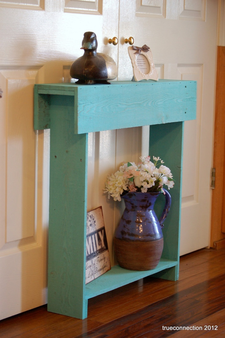 Console Table. Small Console Table TEAL Skinny Wall Table
