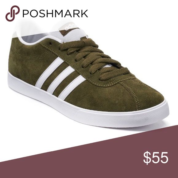 adidas NEO Courtset Women's Suede Sneakers. Olive With a clean, modern look, these women's adidas Courtset shoes serve up tennis-inspired style for everyday.  SHOE FEATURES 	•	Ortholite technology enables air flow for a cool foot, wicks away moisture, inhibits odor and fungus, and provides long-lasting cushioning  	•	Low collar 	•	Classic adidas stripes 	•	Toe overlay 	•	Traction sole SHOE CONSTRUCTION 	•	Suede upper 	•	Textile lining 	•	Rubber outsole SHOE DETAILS 	•	Round toe 	•	Lace-up…