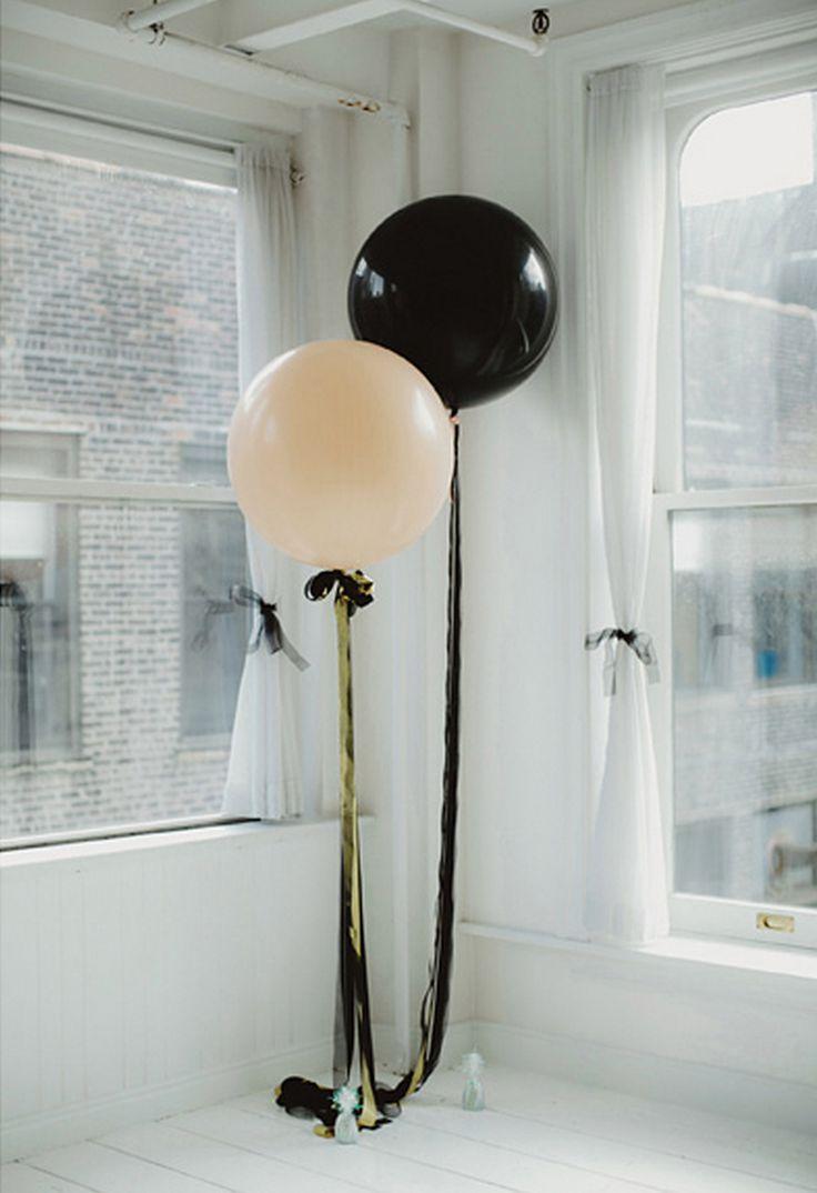 black & ivory white oversized balloons