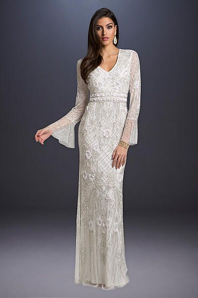 9797b6ffd726 Lara Alyssa Beaded Wedding Dress with Bell Sleeves 33435, presented by David's  Bridal. A little bit boho and a little bit glam, this flattering sheath ...
