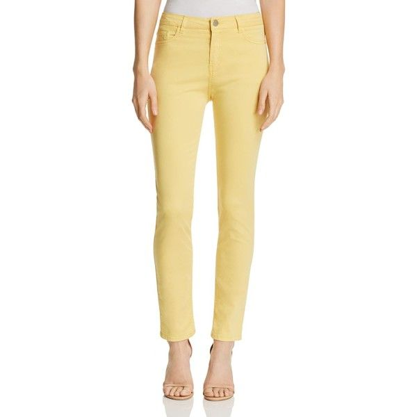Gerard Darel Marilou Cropped Straight-Leg Jeans - 100% Exclusive (15,170 PHP) ❤ liked on Polyvore featuring jeans, yellow, yellow jeans, beige jeans, cropped jeans, straight leg jeans and gérard darel