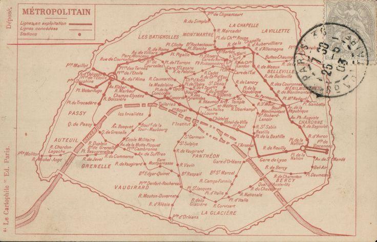 carte postaleplan de metro de paris le cartophile 1900