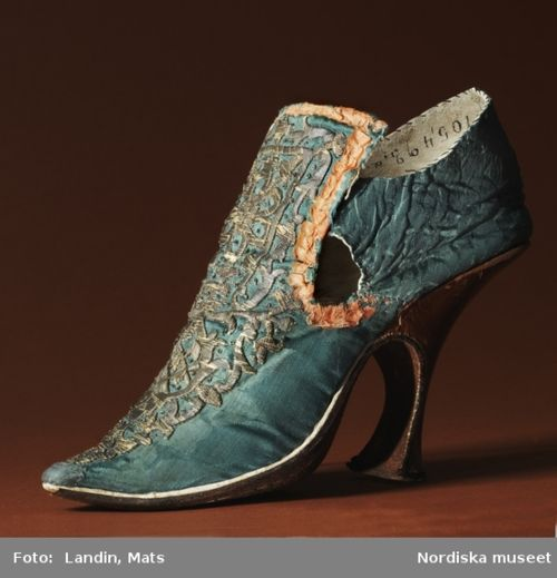 Shoe, 1700's, Nordiska  ( men's shoe? Louis the 16th, I think, is the one who started the heel movement in Europe - he wanted to be taller.)