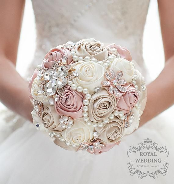 Ready Made Wedding Bridesmaid Bouquet Small Pink Foam Roses Brooch Bouquet