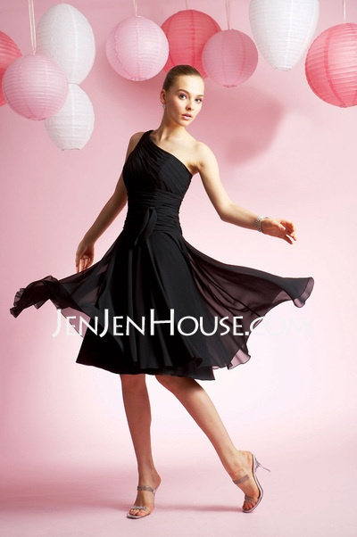 Bridesmaid Dresses - $94.99 - A-Line/Princess One-Shoulder Knee-Length Chiffon  Charmeuse Bridesmaid Dresses With Ruffle (007004219) http://jenjenhouse.com/A-line-Princess-One-shoulder-Knee-length-Chiffon--Charmeuse-Bridesmaid-Dresses-With-Ruffle-007004219-g4219: Style, Wedding Ideas, Knee Length, Bridesmaid Dresses, A Line, One Shoulder, Prom Dress, Chiffon, Black