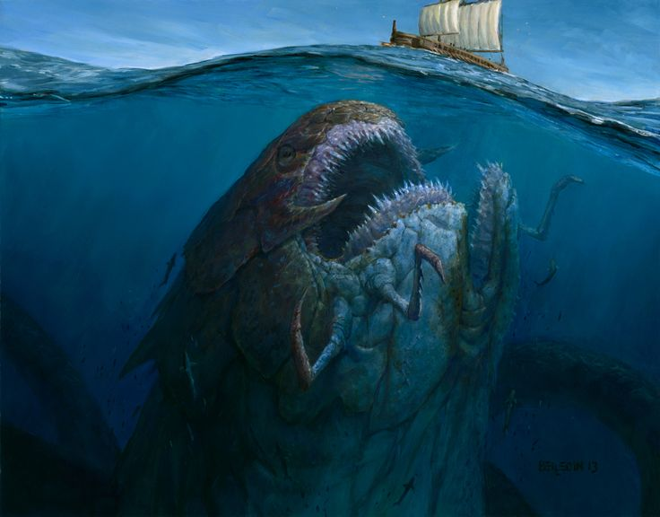 The juxtaposition of the boat on the surface and the gaping maw of the monster under it really creates the sense of impending doom.