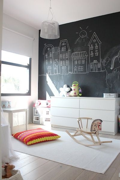 neat idea, I'd love to see the kid atop the dresser, hanging off climber style with one foot on the wall as she draws that house above the doll house. I wonder what the wall will say when she's a teenager :)