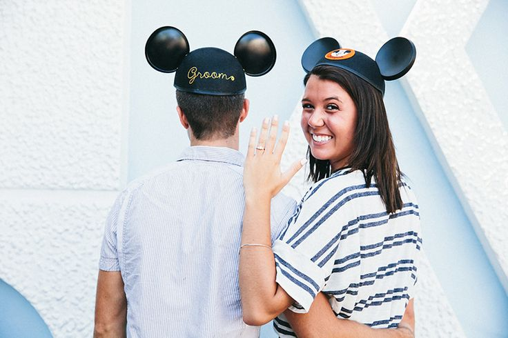 We are obsessed with this engagement announcement at Disneyland- complete with Mickey ears!