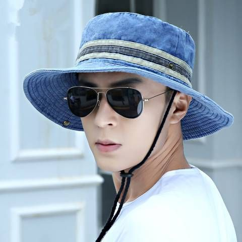 Summer fishing bucket hat for men outdoor sun hats with string
