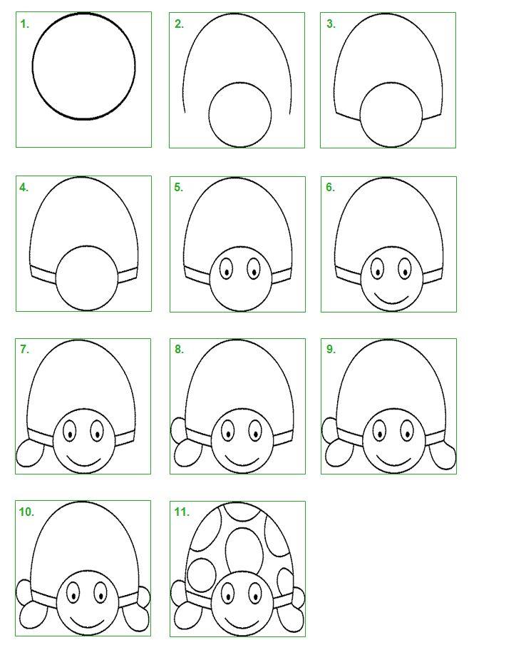 Schildpad. Leer stap voor stap hoe je zelf gemakkelijk een schildpad kunt tekenen.