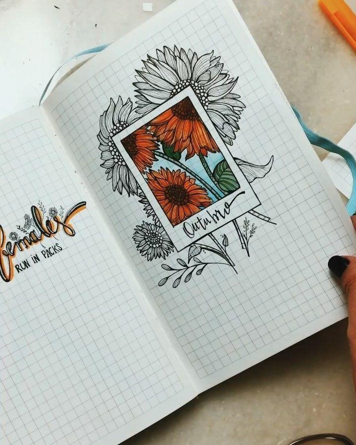 bullet journal – gelb – sonnenblume – frühling – outubro Bullet journal layout