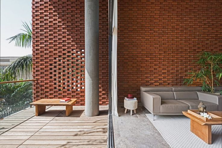 Indian house with undulating brick facade