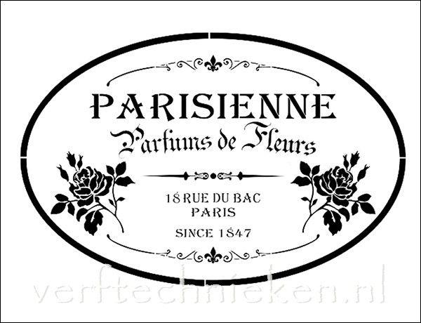 Shabby Chic sjabloon Parisienne Parfum Roses. Verkrijgbaar in A3 formaat. Exclusief bij verftechnieken.nl