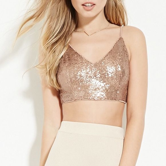NWT Sequined Rose Gold Crop Top BRAND NEW sequined rose gold crop top from forever 21. never worn w tag still attached. beautiful rose gold sequins with gold zipper in backNOT URBAN OUTFITTERS Urban Outfitters Tops Crop Tops