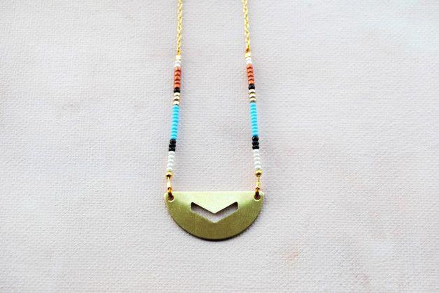Boho Chic Necklace, Geometric chevron