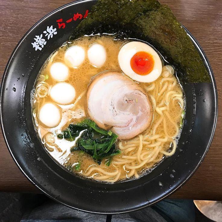 ラーメン中盛りうずらトッピング@壱八家 #ramen #ラーメン #横浜 #家系ラーメン #醤油豚骨 #まろやか #麺スタグラム #food