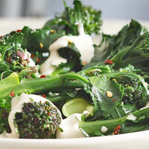 Purple sprouting broccoli with anchovy sauce