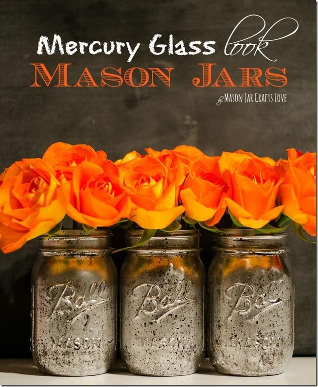 how to make mercury glass mason jars with silver spray paint -- great idea!!!!!!