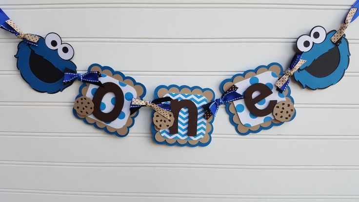 ONE Banner,  high chair banner,  Sesame Street, Cookie Monster photo banner,  Elmo banner, Cookie Monster decorations. Happy Birthday Banner by SweetBugABoo on Etsy https://www.etsy.com/listing/477806262/one-banner-high-chair-banner-sesame