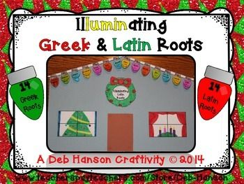 This engaging activity puts a fun holiday-themed spin on learning or reviewing Greek and Latin roots!  It also makes a creative bulletin board or school hallway display!   As teacher, you can decide whether you want your students to assemble the Latin Roots' lights/house, the Greek Roots' lights/house, OR BOTH!  (If you choose to do both, students can simply turn over the first house they assembled, and create the second house on the back of the same paper!)  Students complete the Latin Root…
