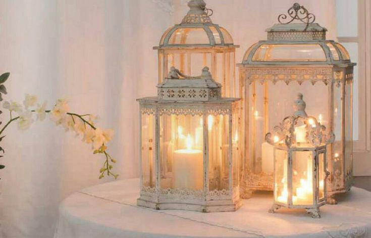 Antique finished Candle Lanterns add to the romantic feel of shabby chic mood !