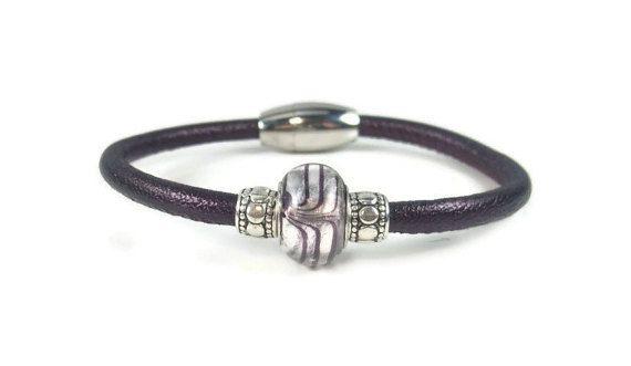 Purple Leather Wrap Bracelet Womens by RealLeatherBracelets