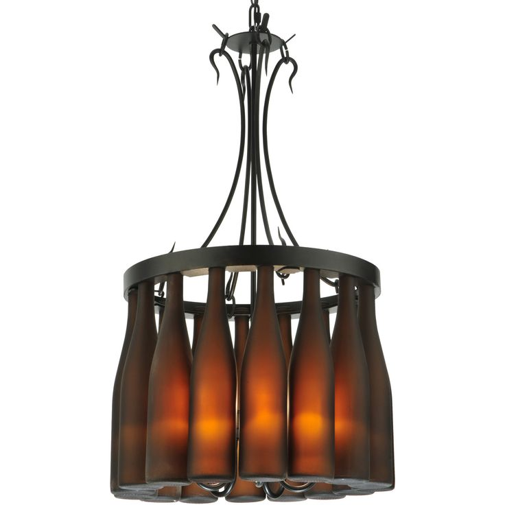 "18 Inch W Tuscan Vineyard Villa 16 Wine Bottle Chandelier - Custom Made. 18 Inch W Tuscan Vineyard Villa 16 Wine Bottle Chandelier Theme:  RUSTIC GOTHIC CONTEMPORARY Product Family:  Tuscan Vineyard Villa Product Type:  CEILING FIXTURE Product Application:  CHANDELIER Color:  BLACK Bulb Type: CNDL Bulb Quantity:  5 Bulb Wattage:  60 Product Dimensions:  35""-69H x 18WPackage Dimensions:  NABoxed Weight:  28 lbsDim Weight:  86 lbsOversized Shipping Reference:  NAIMPORTANT NOTE: Most of our…"