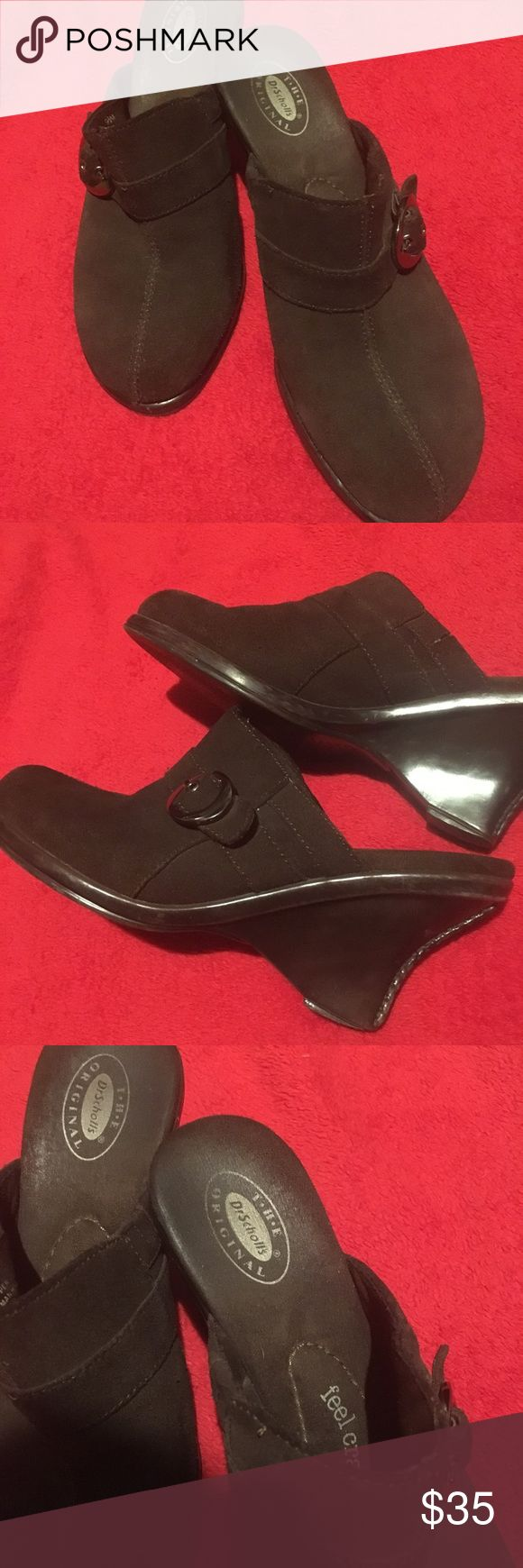 Dr. Scholl's leather heeled mule clogs. Leather wedge mule clogs in chocolate brown by Dr. Scholl's. Awesome condition, super comfortable padding inside. Awesome for the office or business day attire. Great condition. Dr. Scholl's Shoes Mules & Clogs