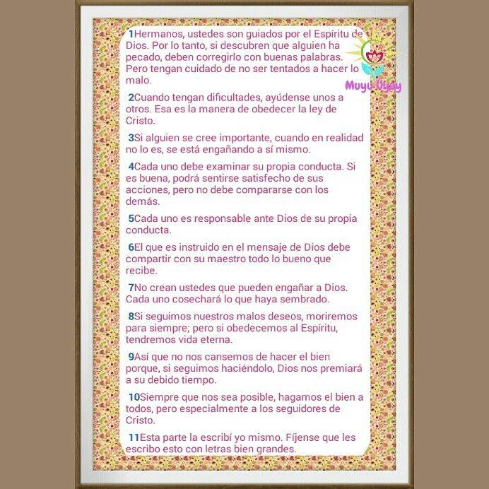Galatas 6:1-11 las obras de la carne y del fruto del Espiritu. Palabra de Dios