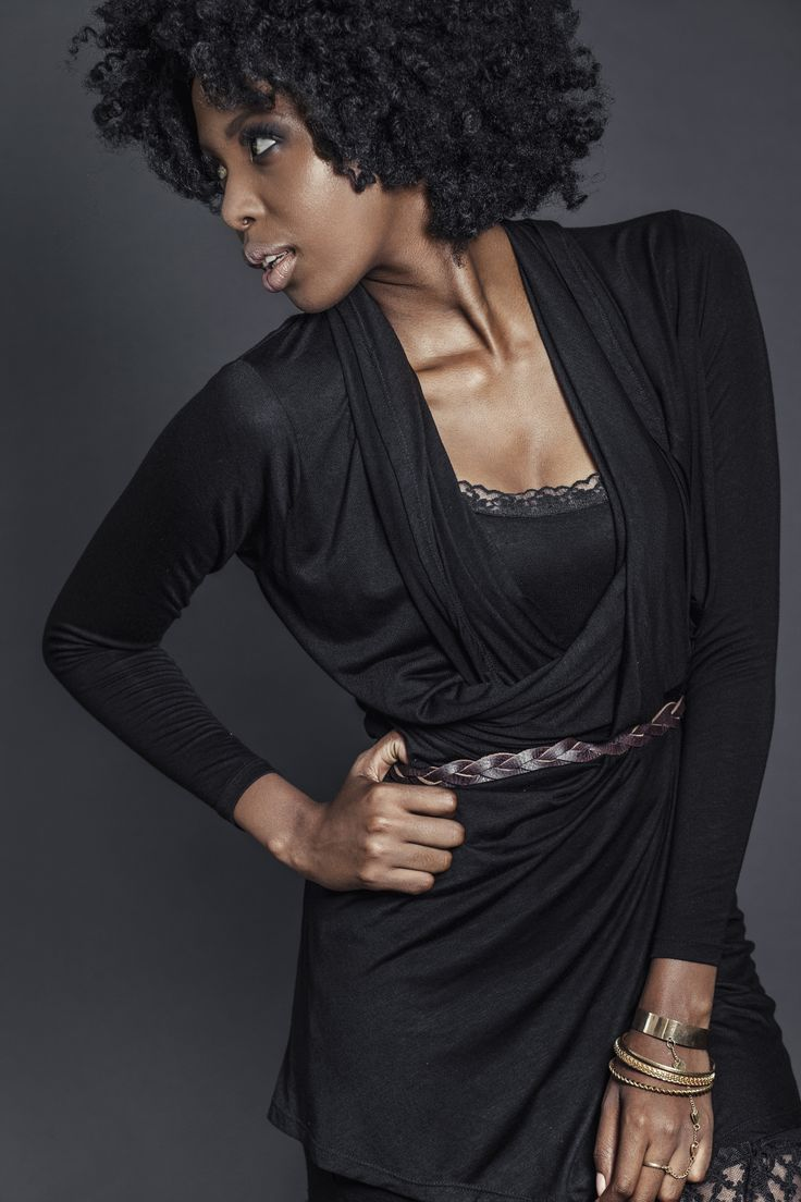 Ladies viscose black draped cardigan over black slip with lace and genuine leather belt. For more information visit: https://www.facebook.com/pengellyclothing or https://www.pengelly.co.za