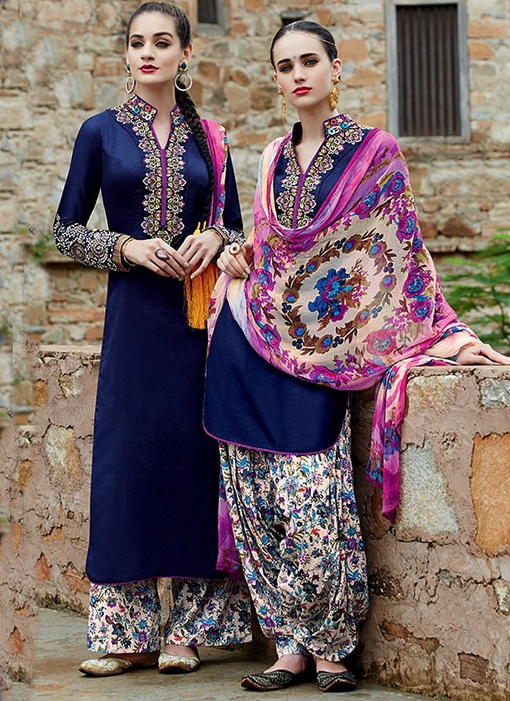 Baronial Navy Blue Cotton Satin Patiala Suit