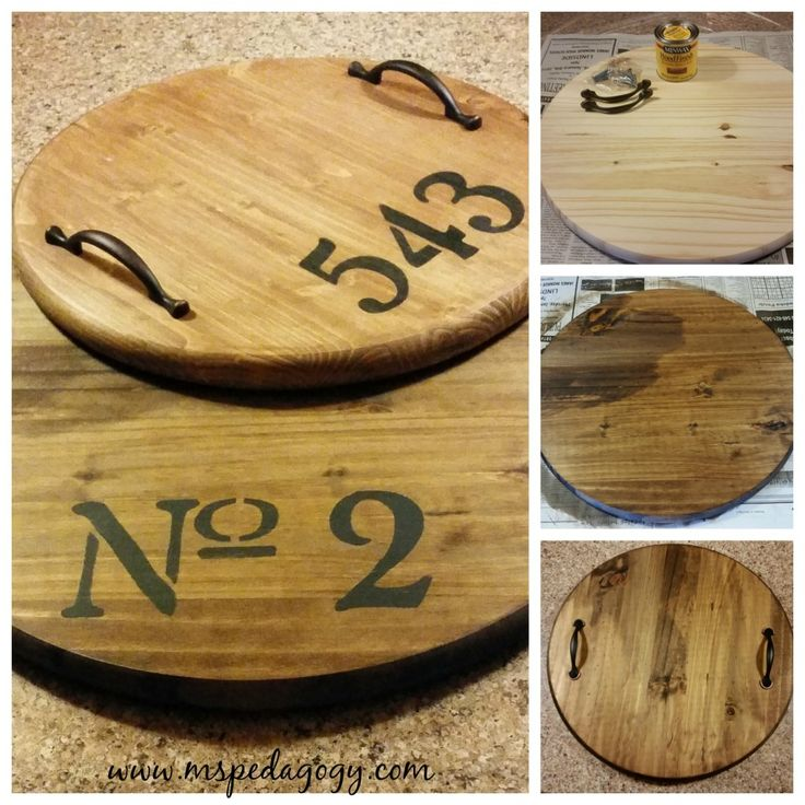 Round wooden serving tray DIY* Serving trays, ABC's and numbers are the rage now and I'm loving it!  www.mspedagogy.com