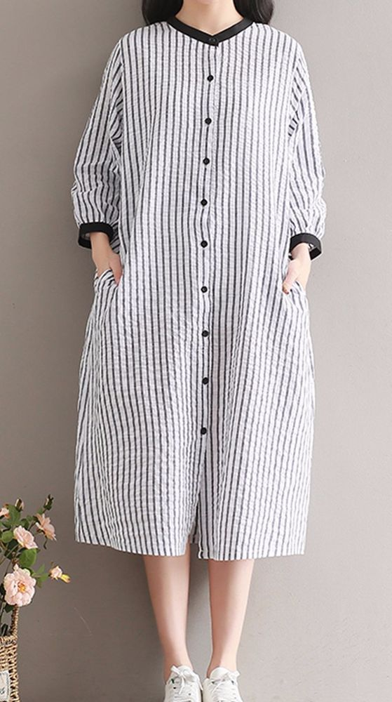 Women loose fit over plus size stripes linen dress button up skirt blouse skirt #Unbranded #dress #Casual
